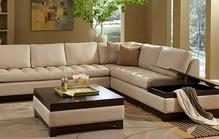 Cream leather corner sofa1