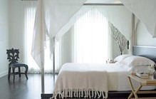 Plain white curtains and drapes1